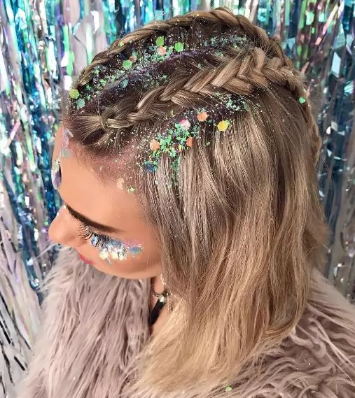 Glitter Braids Are A Thing And We Couldn't Be Happier | Beauty With Glitter Ponytail Hairstyles For Concerts And Parties (Gallery 3 of 25)
