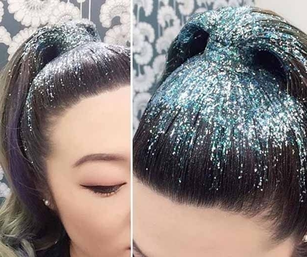 Glitter Hair Trends Go Viral | Hair And Hair Care | Pinterest throughout Glitter Ponytail Hairstyles For Concerts And Parties
