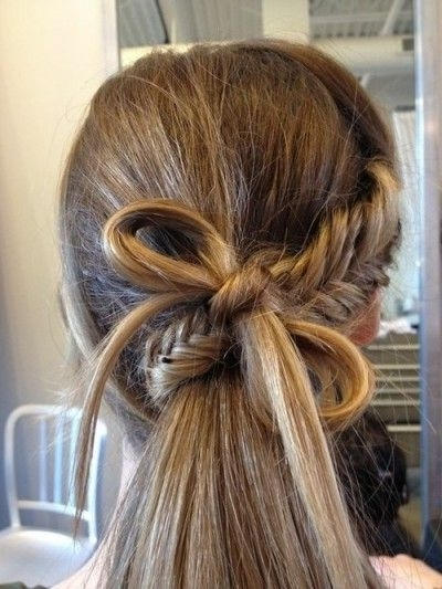 Gorgeous Bow Tie And Braided Ponytail Hairstyle | Hair | Pinterest With Bow Braid Ponytail Hairstyles (Gallery 3 of 25)