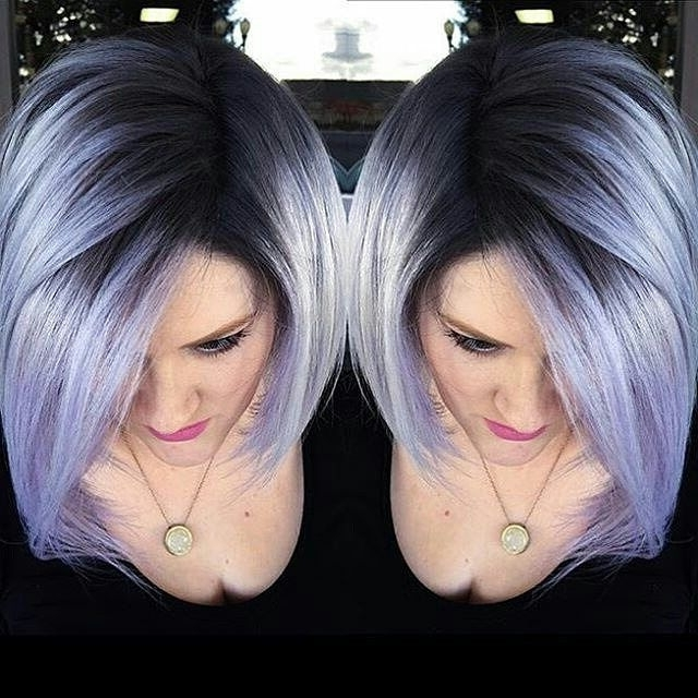 Gorgeous Dark Roots With Lavender Hair | Best Hair Styles, Color And with regard to Platinum Blonde Bob Hairstyles With Exposed Roots