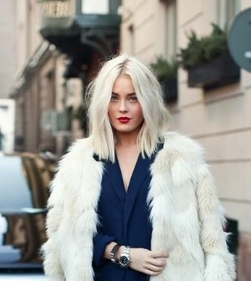 Gorgeous Hairstyles For The Freezing Winters | Hair And Beauty Regarding Sleek White Blonde Lob Hairstyles (Gallery 14 of 25)