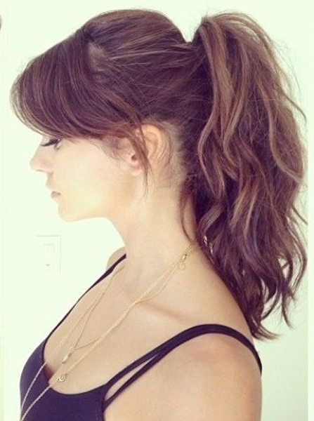 Gorgeous High Ponytail With Side Swept Bangs 2016 In 2018 | Beauty Regarding High Ponytail Hairstyles With Side Bangs (Gallery 8 of 25)
