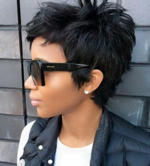 Graduated Short Choppy Haircuts 2017 For Thick Hair | Pixie Haircuts In Latest Choppy Asymmetrical Black Pixie Hairstyles (Gallery 18 of 25)