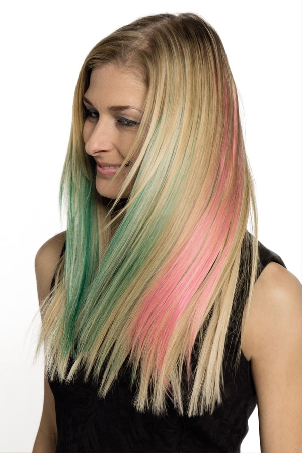 Green And Pink Highlighs In Blonde Hair 2015 Cool Hairstyles Inside Blonde Hairstyles With Green Highlights (View 21 of 25)