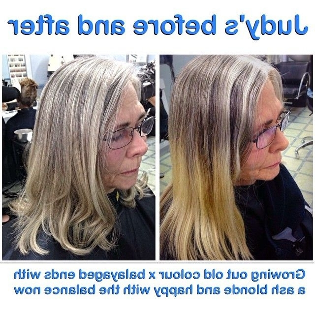 Growing Out Old Colour #balayage #ash #blonde #slate #silver #hair For Grown Out Balayage Blonde Hairstyles (View 19 of 25)