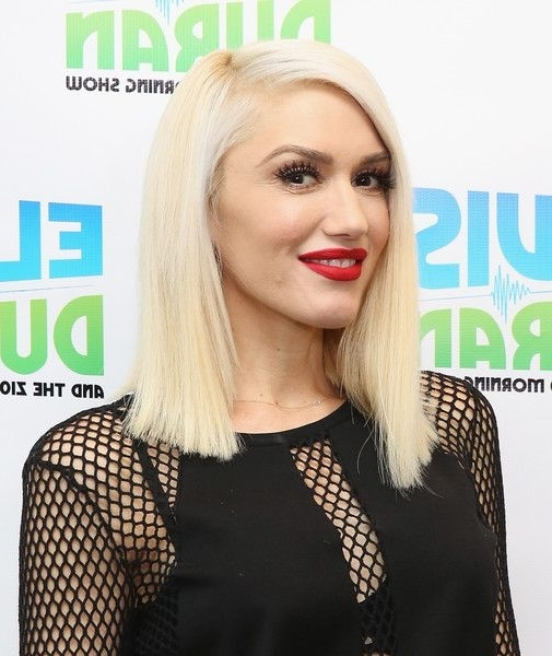 Gwen Stefani Asymmetrical Cut In 2018 | Medium Hairstyles intended for Platinum Asymmetrical Blonde Hairstyles