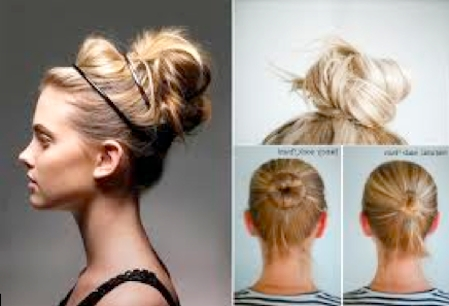 Gym Hairstyle Trends: How To Get The Sock Bun, Low-Side Braids in Loose Messy Ponytail Hairstyles For Dyed Hair
