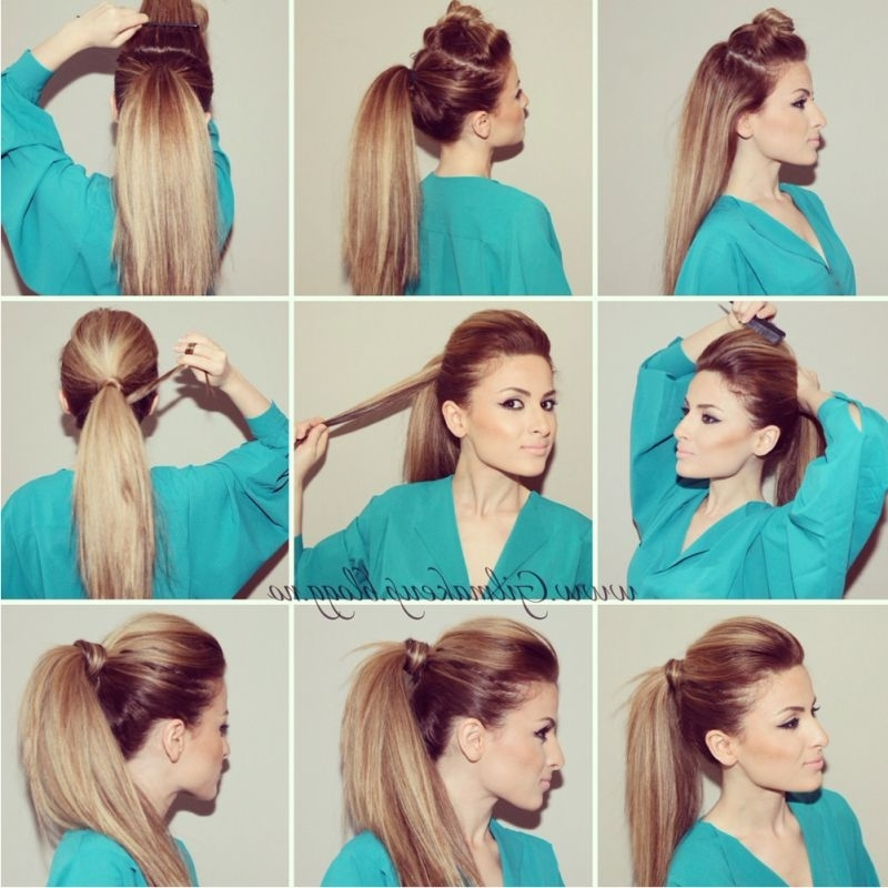Hair Picture Tutorial: Kim Kardashian Inspired High Ponytail! In With Regard To Stylish Low Pony Hairstyles With Bump (View 23 of 25)
