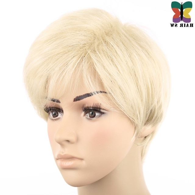 Hair Sw Blonde Wig Synthetic Hair Short Mens Wig Pixie Cut Full Pertaining To Full And Fluffy Blonde Ponytail Hairstyles (View 13 of 25)