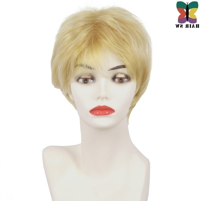 Hair Sw Short Straight Synthetic Hair Ladies Wig Honey Blonde Fluffy With Regard To Most Up To Date Blonde Pixie Hairstyles With Short Angled Layers (View 23 of 25)
