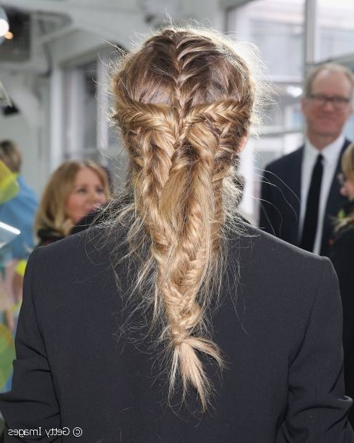 Hairstyle Inspiration: Olivia Palermo's Textured Fishtail Braids With Entwining Braided Ponytail Hairstyles (View 22 of 25)