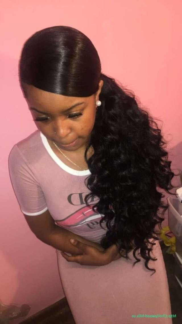 Hairstyles With Weave Ponytails Inspiration Of Curly Weave Ponytail Within Weave Ponytail Hairstyles (View 16 of 25)