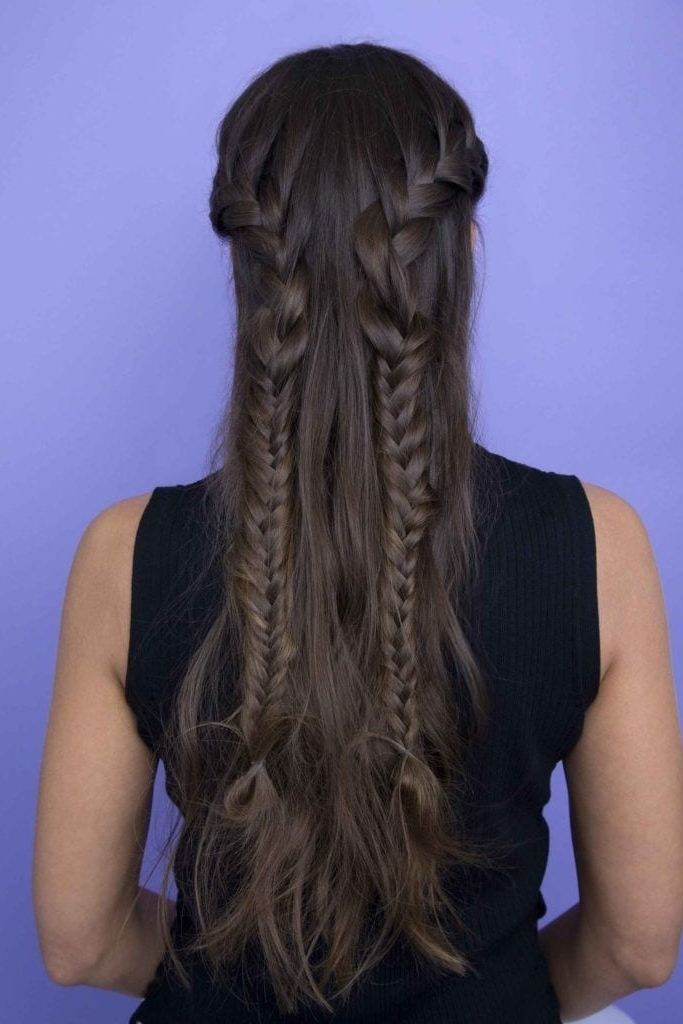 Half Braided Hairstyles: 44 Pretty, Super Flattering Looks Intended For Reverse French Braids Ponytail Hairstyles With Chocolate Coils (View 12 of 25)
