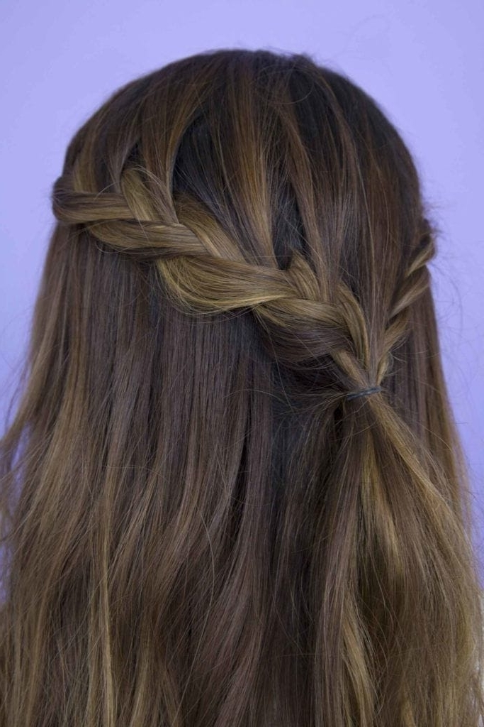 Half Braided Hairstyles: 44 Pretty, Super Flattering Looks Pertaining To Reverse French Braids Ponytail Hairstyles With Chocolate Coils (View 24 of 25)