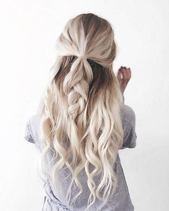 Half Up Braid Beachy Wavy Braid Hairstyle 2017 – Her Style Code Regarding Beachy Braids Hairstyles (View 21 of 25)