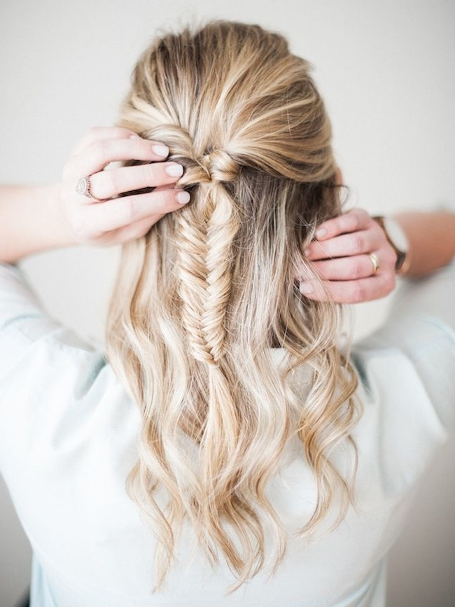 Half Up Fishtail Braid Tutorial | Pinterest | Clarks, Braid Hair With Undone Fishtail Mohawk Hairstyles (View 10 of 25)