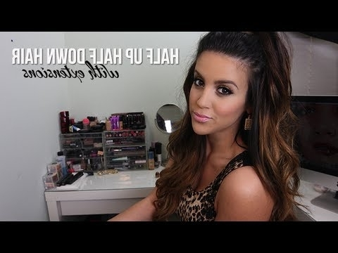 Half Up Half Down Hair With Extensions – Youtube For High Top Ponytail Hairstyles With Wavy Extensions (View 19 of 25)