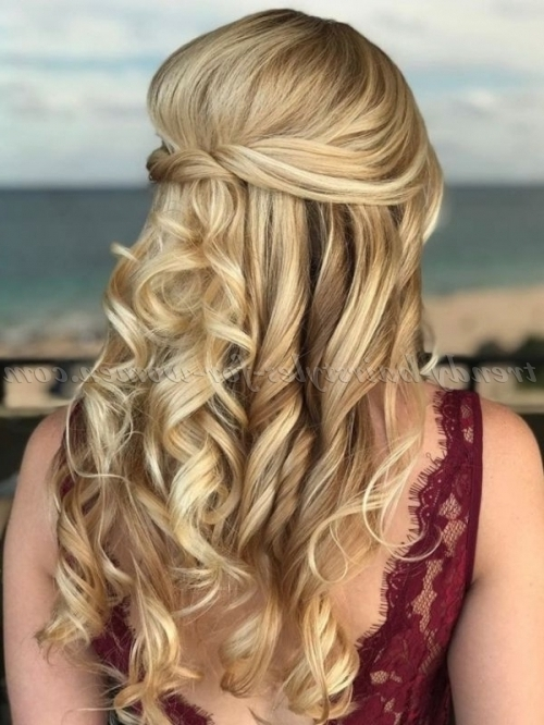 Half Up Half Down Hairstyles – Curly Half Updo For Prom | Trendy Pertaining To Formal Half Ponytail Hairstyles (View 19 of 25)