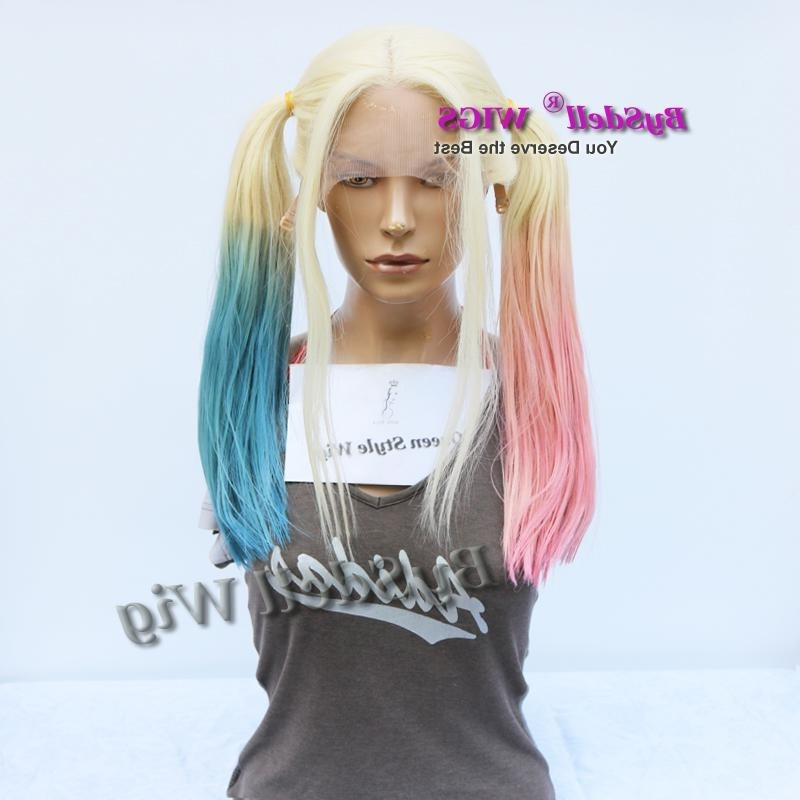 Halloween Cosplay Wig Suicide Squad Harley Quinn Ponytail Hairstyle Regarding Full And Fluffy Blonde Ponytail Hairstyles (View 14 of 25)