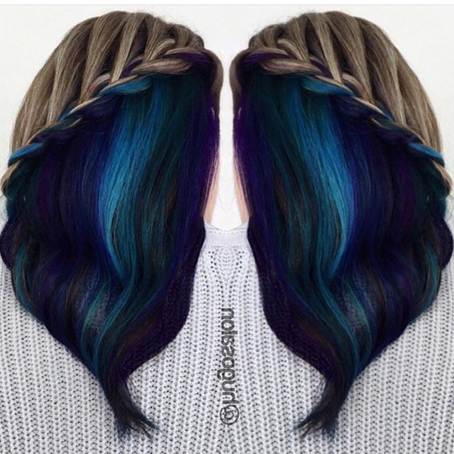 Hidden Panel Of Gorgeous Blue Hair Color Is Revealedthis Pertaining To Hidden Braid Hairstyles (View 24 of 25)