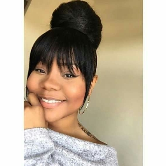 High Bun With Bang | Black Hairstyles | Pinterest | High Bun Pertaining To High Black Pony Hairstyles For Relaxed Hair (View 6 of 25)