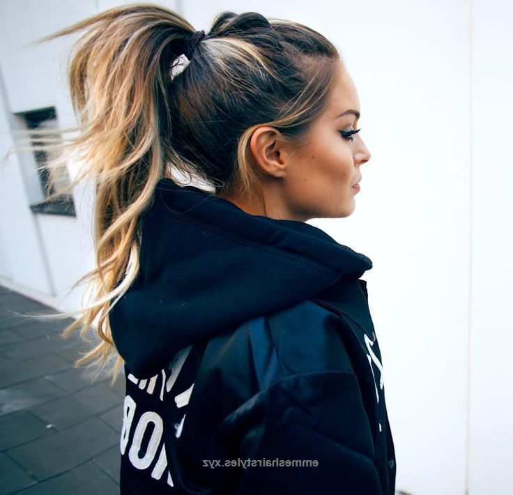 High Ponytail For Long Dark Brown Hair With Honey Blonde Balayage With Long Brown Hairstyles With High Ponytail (View 8 of 25)