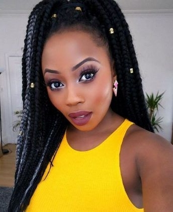 High Ponytail Style Box Braids | ???? | Pinterest | High Inside High Ponytail Hairstyles With Jumbo Cornrows (View 22 of 25)