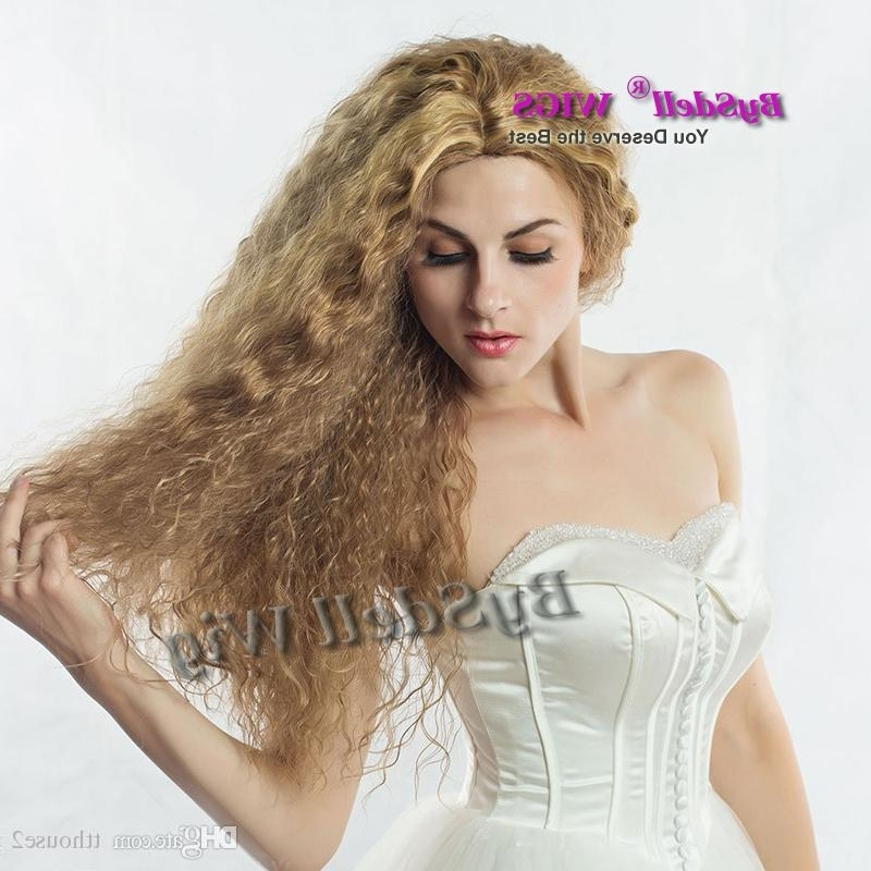 Hot Sexy Lady Brown Blonde Mix Color Kinky Curly Hair Wig Pretty Regarding Sexy White Blond Weave Ponytail Hairstyles (View 17 of 25)