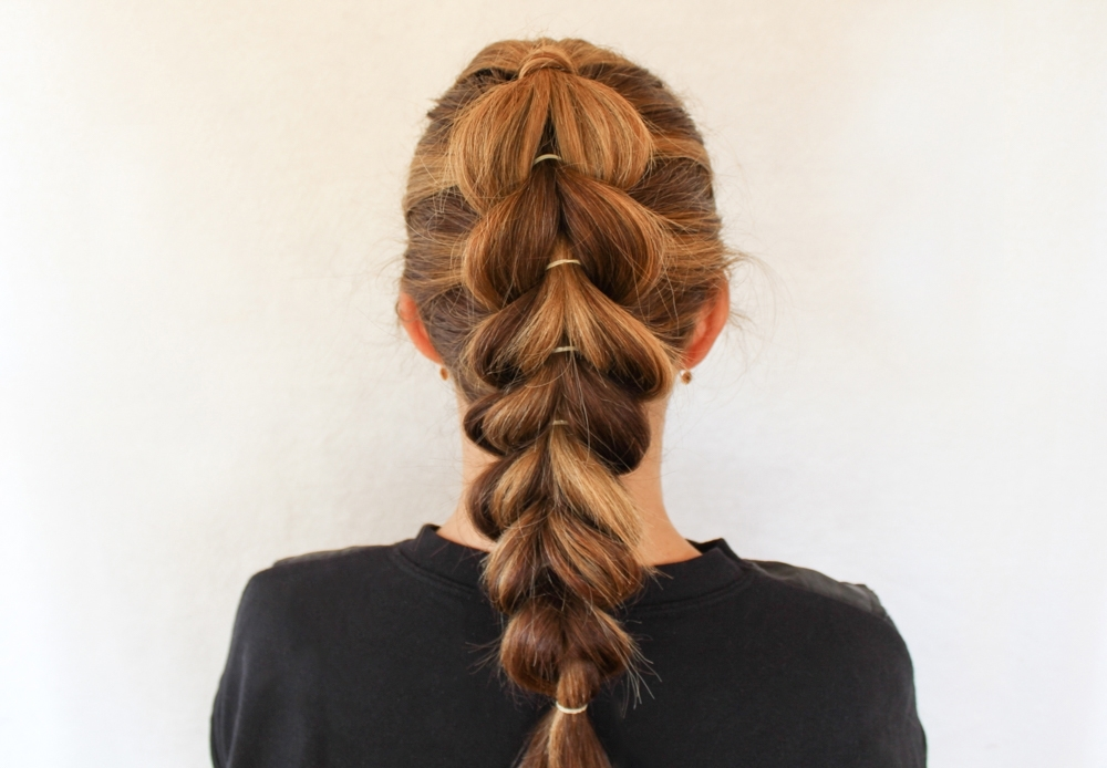 How To Create A French Pull Through Braid For Chunky Ponytail Fishtail Braid Hairstyles (View 19 of 25)
