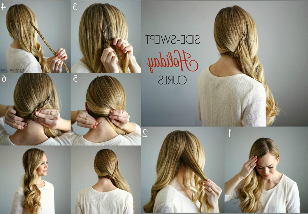 How To Do Side Swept Holiday Curls Stepstep Tutorial Throughout Side Swept Curly Ponytail Hairstyles (View 18 of 25)