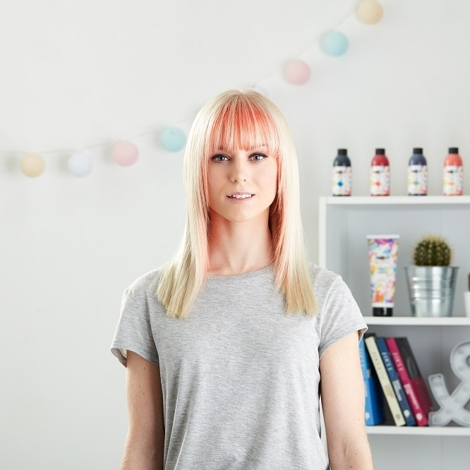 How To: Dye Your Fringe Coral At Home | Pick And Mix, Tutorials Inside Bi Color Blonde With Bangs (View 24 of 25)