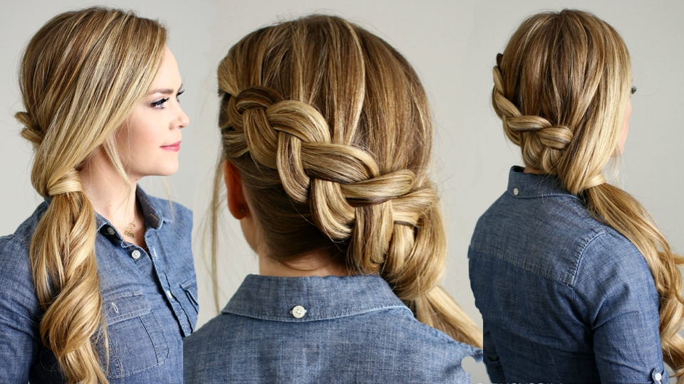 How To Make Side Swept Dutch Braid Ponytail Hairstyle Inside Side Swept Curly Ponytail Hairstyles (View 13 of 25)