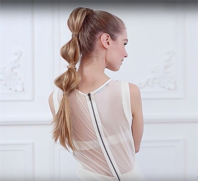 How To: Whimsical Bubble Ponytail – Hairstyling & Updos – Modern Salon Regarding Sleek Bubble Ponytail Hairstyles (View 16 of 25)