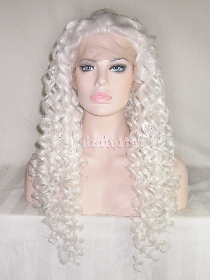 I Pretty White Synthetic Hair Wigs Heat Resistant Long Curly Blonde With White Blonde Curls Hairstyles (View 13 of 25)