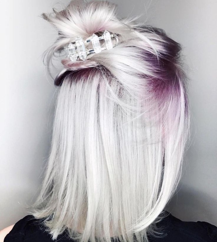 Icy Platinum Blonde Hair With Purple Roots | Beautiful Hair With Regard To Voluminous Platinum And Purple Curls Blonde Hairstyles (View 7 of 25)