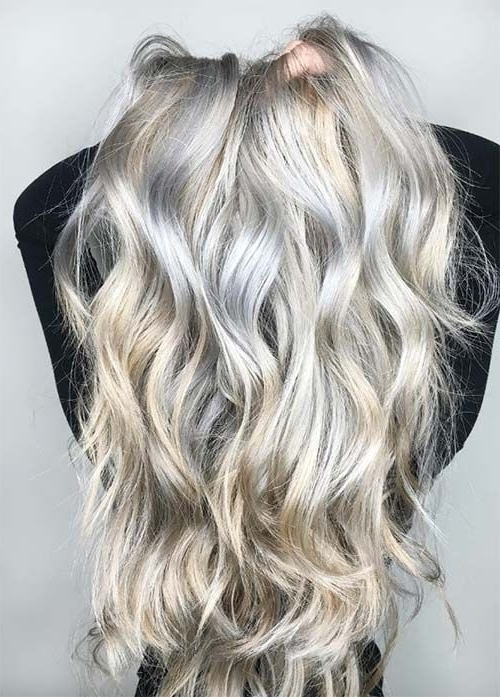 Icy Silver White Balayage Hair Icy Silver White And Warm Light Within Icy Ombre Waves Blonde Hairstyles (View 23 of 25)