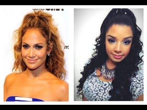 Jennifer Lopez Inspired Hair Tutorial : Half Up / Down Hairstyle pertaining to Half Up Half Down Ponytail Hairstyles