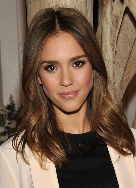 Jessica Alba Hairstyles: Sleek Lustrous Medium Hairstyle - Popular inside Lustrous Blonde Updo Ponytail Hairstyles