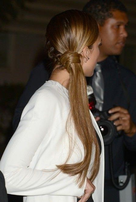 Jessica Alba Side Braided Sleek Ponytail | Hairdo's | Pinterest For Side Braided Sleek Pony Hairstyles (View 3 of 25)