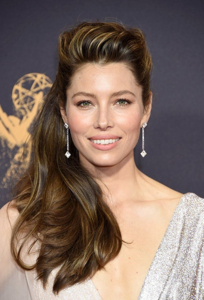 Jessica Biel Brought The Drama With Her Pompadour Hairstyle At The pertaining to Sky-High Pompadour Braid Pony Hairstyles