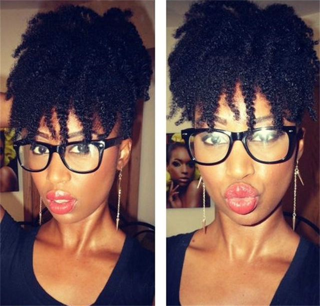 Jet Black Short 4C Afro Kinky Curly Human Hair Drawstring Ponytails in Jet Black Pony Hairstyles With Volume