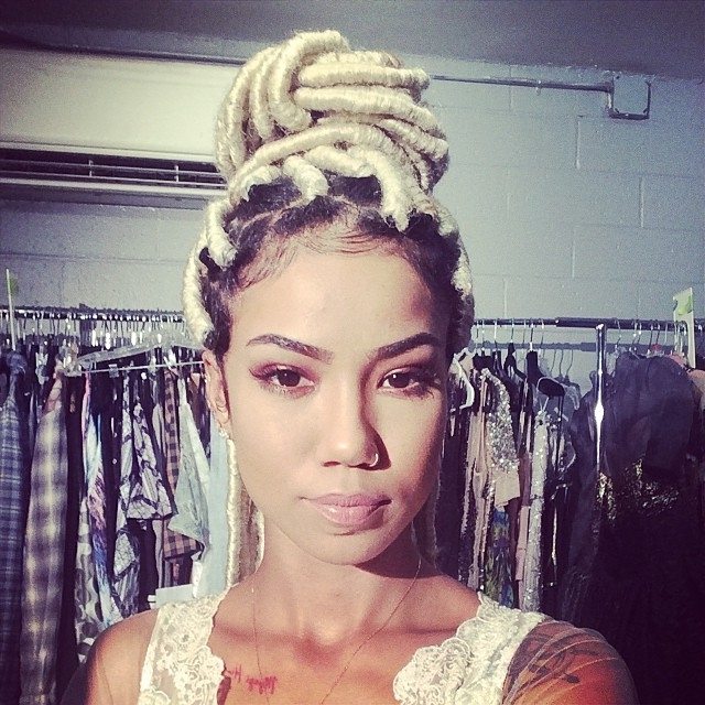 Jhene Aiko Instagrams Blonde Faux Locks Hairstyle | The Style News Pertaining To Platinum Blonde Long Locks Hairstyles (View 22 of 25)
