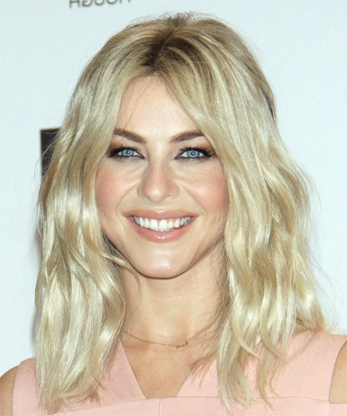 Julianne Hough Long Wavy Casual Layered Bob Hairstyle – Light In Platinum Blonde Long Locks Hairstyles (View 12 of 25)