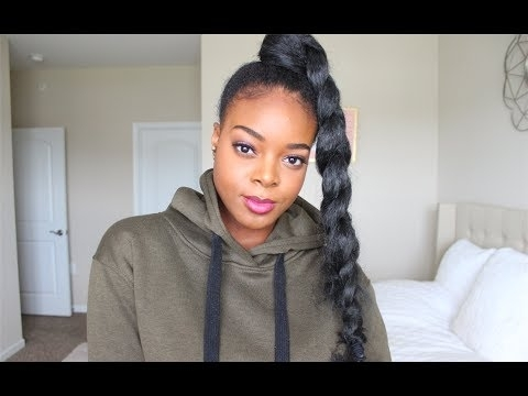 Jumbo Braided Ponytail With Kanekalon Hair – Youtube Inside High Ponytail Hairstyles With Jumbo Cornrows (View 13 of 25)