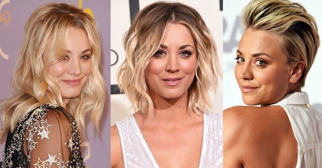 Kaley Cuoco Hair Evolution: See How She Grew Out Her Pixie | Glamour Inside Recent Growing Out Pixie Hairstyles For Curly Hair (View 18 of 25)