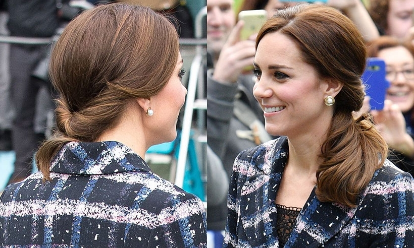Kate Middleton Opts For A Ponytail With A Twist During Manchester Visit Pertaining To Glossy Twisted Look Ponytail Hairstyles (View 6 of 25)