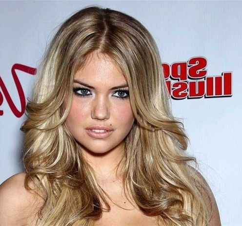 Kate Upton Long Layered Hairstyle – Prom, Party, Formal Throughout Feathered Cut Blonde Hairstyles With Middle Part (View 17 of 25)