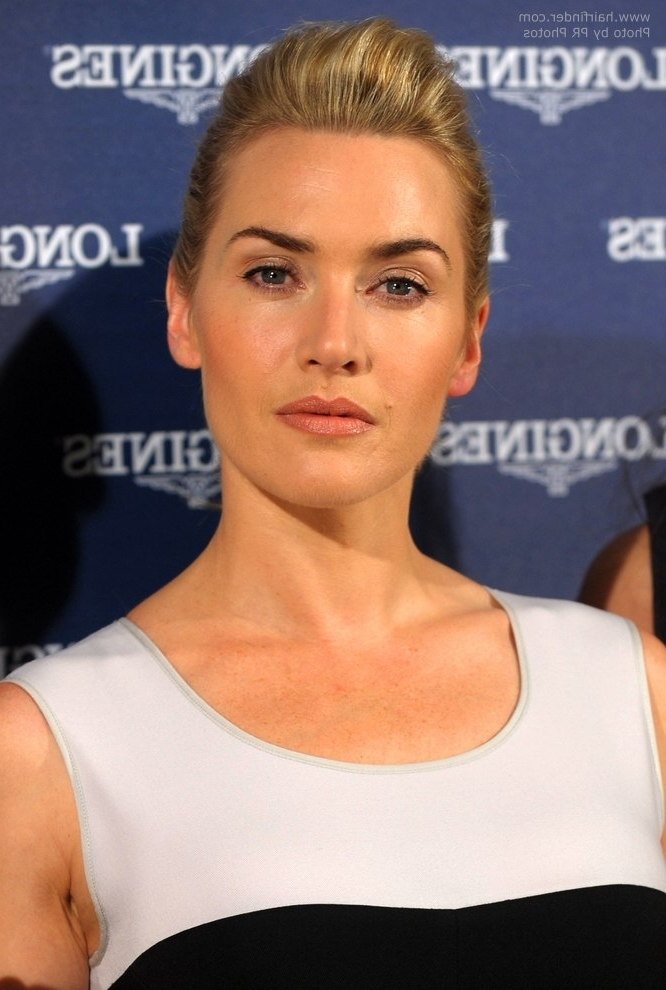 Kate Winslet's Simple Hairdo With A Short Ponytail And Poof With Regard To Updo Ponytail Hairstyles With Poof (View 20 of 25)