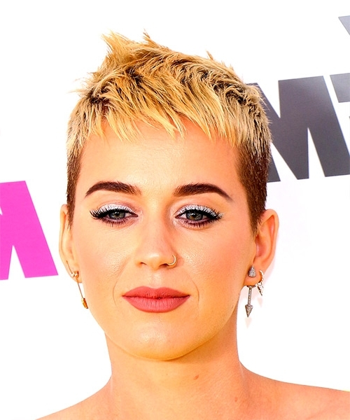 Katy Perry Short Straight Alternative Pixie Hairstyle With Razor Cut Intended For Most Current Finely Chopped Buttery Blonde Pixie Hairstyles (View 18 of 25)