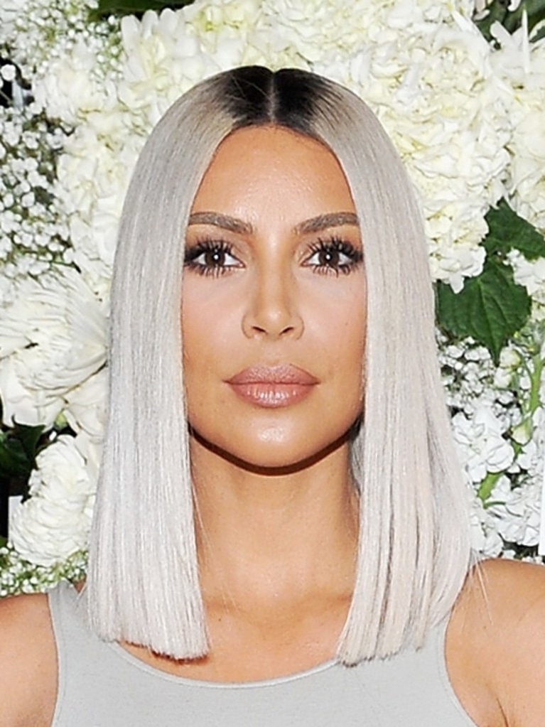 Kim Kardashian Just Revealed A Sleek New Icy Blonde Lob Haircut | Allure Intended For Sleek White Blonde Lob Hairstyles (View 5 of 25)